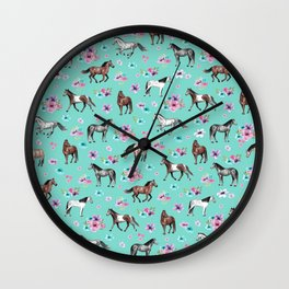 Hand drawn horses, Flower horses, Floral Pattern, Aqua Blue Wall Clock