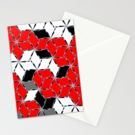 red white black grey cubes geometric 3d pattern Stationery Cards