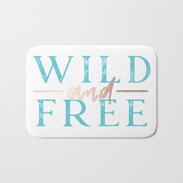 Wild and Free Turquoise Rose Gold Bath Mat