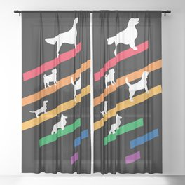 Cosmic Rainbow Dogs - Stripes and Silhouettes Sheer Curtain