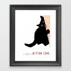 Black little cat love  Framed Art Print