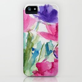 Meadow With Flowers Watercolor iPhone Case