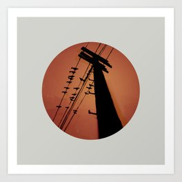 Electric post, glitchy design Art Print