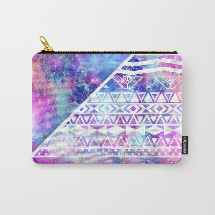 Girly Purple Pink Nebula Space White Tribal Aztec Carry-All Pouch