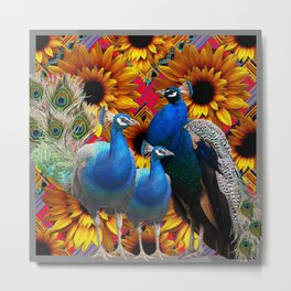 ORNATE BLUE PEACOCKS & GOLDEN SUNFLOWERS Metal Print