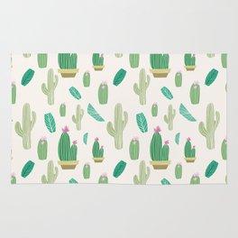 Ivory pastel blush green pink cactus floral Rug