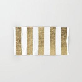 Elegant stylish trendy faux gold modern stripe Hand & Bath Towel