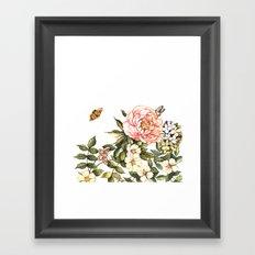 Vintage floral watercolor background Framed Art Print