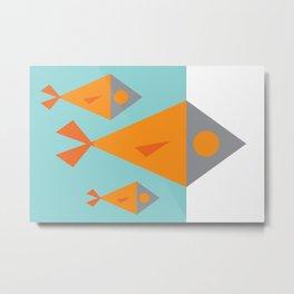 Under the Sea: Retro Geometric Fish Metal Print