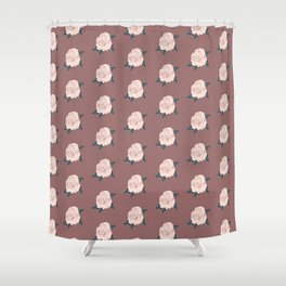Soft pink Roses on Dusty pink background Shower Curtain