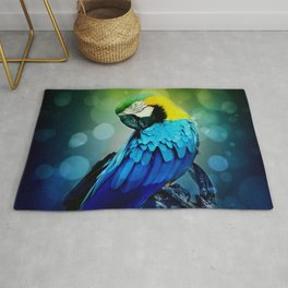 Macaw on branch Rug