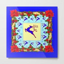 LEAPING DEER POINSETTIAS & SNOWFLAKES BLUE ART CHRISTMAS de Metal Print