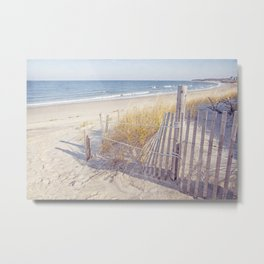 Taupe and Blue Seascape Metal Print