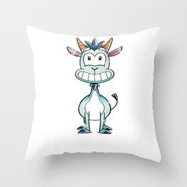 Goat Smiling Kid Throw Pillow