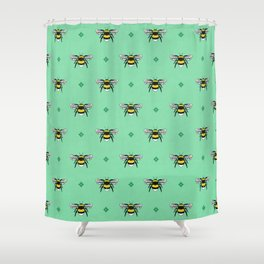 Bumblebees on Spearmint Shower Curtain