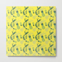 Seamless pattern with abstract pineapples Metal Print