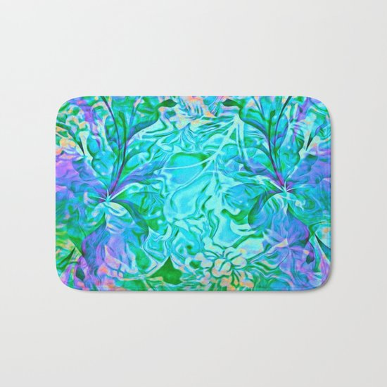 Tropical Breeze Floral Abstract Bath Mat