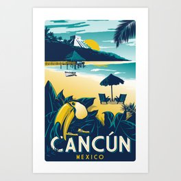 Cancun Mexico vintage travel poster Art Print