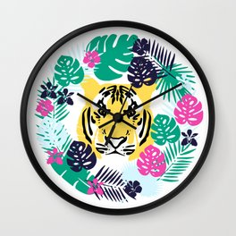 Cute tiger and tropical leaves Wall Clock