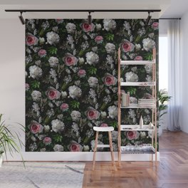 Midnight Garden Blush Florals Wall Mural