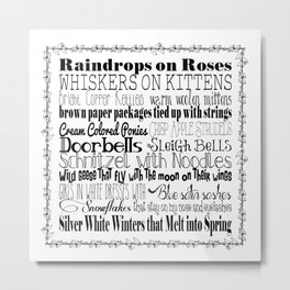 My Favorite Things - White with Border Metal Print