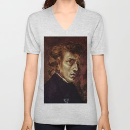The Portrait of Frédéric Chopin by French artist Eugène Delacroix (1838) Unisex V-Neck