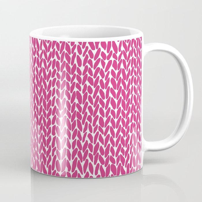 Hand Knit Hot Pink Coffee Mug By