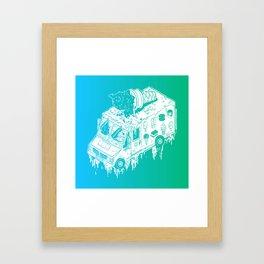 Melty Ice Cream Truck - Mint Framed Art Print