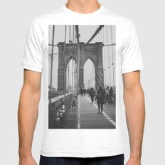 Brooklyn Bridge III MEDIUM White Mens Fitted Tee