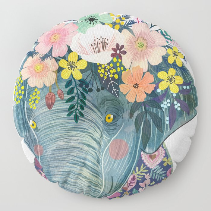 Elephant with flowers on head Floor Pillow