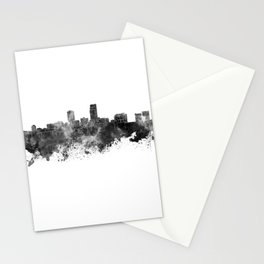 Omaha skyline in black watercolor Stationery Cards