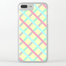 Abstract Geometic Pattern Square Grid Stripes multicolor Clear iPhone Case