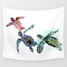 Sea Turtle Family, family art Wall Tapestry