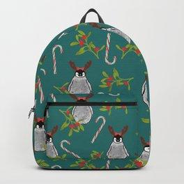 Christmas Penguin in Reindeer Ears Mint & Teal Backpack