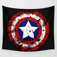 shield Wall Tapestries featuring Captain's Shield by sambeawesome