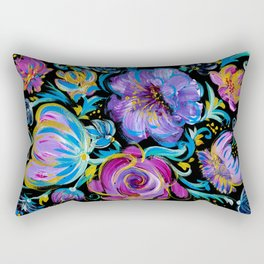 Colorful floral abstraction #3 acrylic painting , flower acrylic painting on a black background, Rectangular Pillow