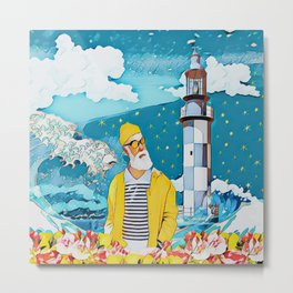Sailorman and lighthouse Metal Print