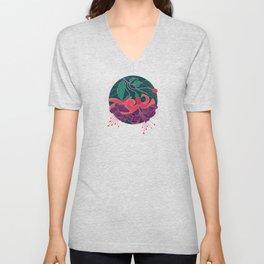 Fuchsia Flowers Unisex V-Neck
