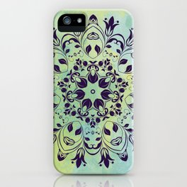 FLOURISH PURPLE AND BLUE WATERCOLOR MANDALA  iPhone Case