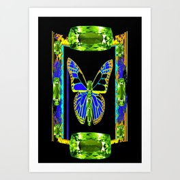 Lime Greenish Peridots Gems Jeweled Butterfly Design Art Print