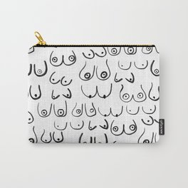 Boobs Pattern - black and white line drawing, life drawing, feminine art Carry-All Pouch