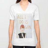 emma stone V-neck T-shirts featuring All I do is win, Emma stone  by Thespanishlady