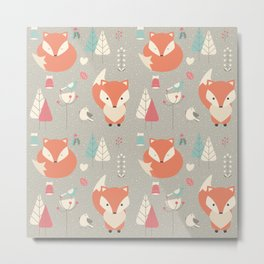 Baby fox pattern 01 Metal Print