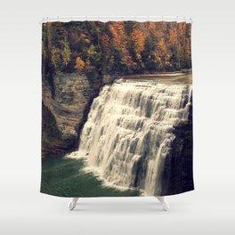 Waterfall in autumn Shower Curtain