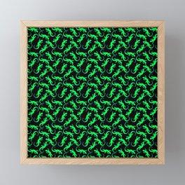 Beautiful bright glowing green artistic lizards. Reptiles. Gift ideas animal lovers. Lizard pattern Framed Mini Art Print