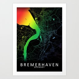 Bremerhaven, Germany, City, Map, Rainbow, Map, Art, Print Art Print