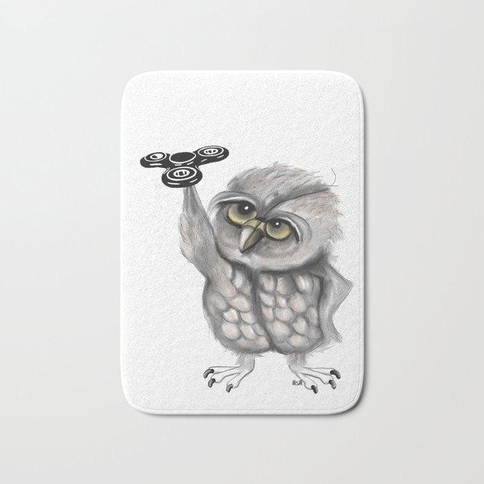 Fidget Spinner Owl Bath Mat