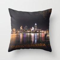 cincinnati Throw Pillows featuring Cincinnati Glow by Stacey Cat