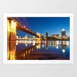 John Roebling Bridge Reflections - Cincinnati Ohio Skyline Art Print
