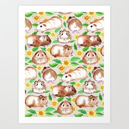 Guinea Pigs and Daisies in Watercolor Art Print